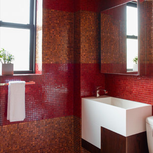 Chelsea Red Pied-à-terre Powder Room - Renovation and Interior Design