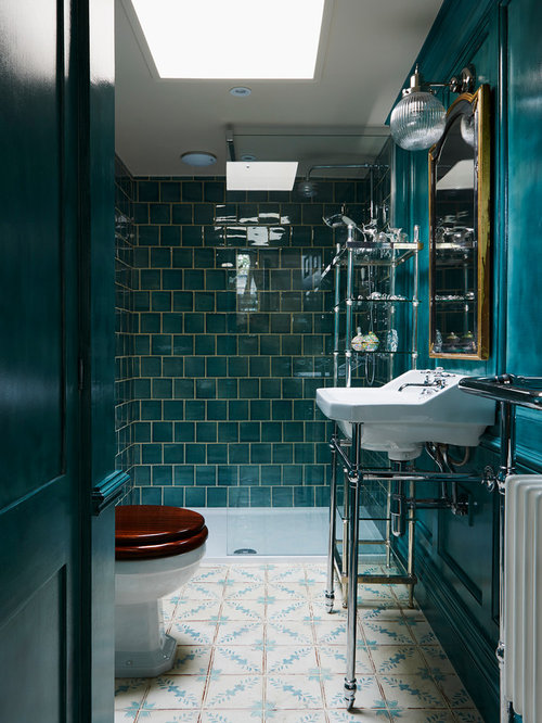 Dark teal bathroom ideas houzz for Black and teal bathroom ideas