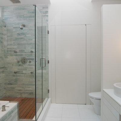 Bathroom - modern bathroom idea in New York with a vessel sink