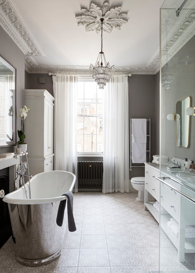 Transitional Bathroom by Nathalie Priem Photography