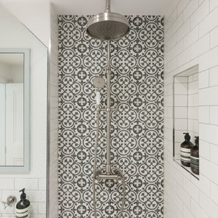 Inspiration for a small scandi shower room in London with a walk-in shower, white tiles, cement tiles, white walls, cement flooring, a wall-mounted sink, white floors and an open shower.