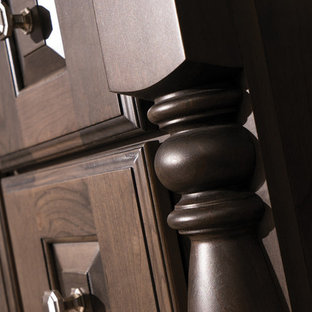 Cherished Traditional Cherry Bathroom Vanity - Close Up of Turned Post Details