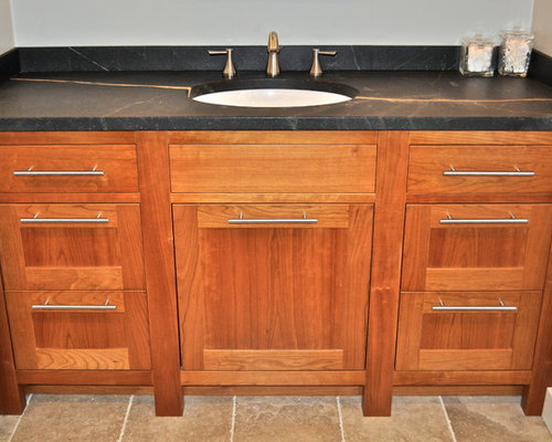 Houzz cherry bathroom vanity design ideas remodel pictures for Bathroom decorating ideas cherry cabinets