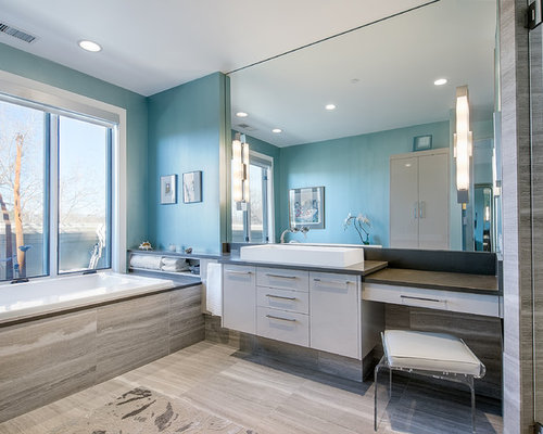 Bathroom   Contemporary Gray Tile And Stone Tile Bathroom Idea In Denver  With A Vessel Sink