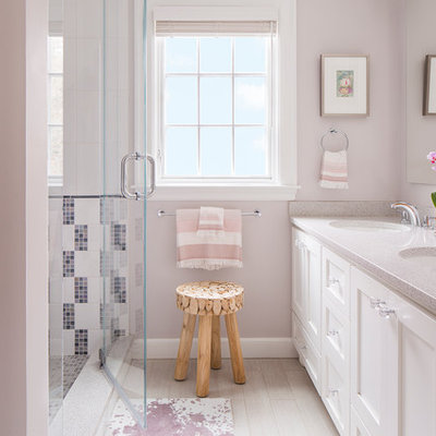 Inspiration for a transitional kids' white tile and porcelain tile porcelain tile alcove shower remodel in Boston with an undermount sink, shaker cabinets, white cabinets, terrazzo countertops and pink walls