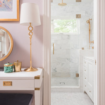 Inspiration for a small transitional master white tile and stone tile mosaic tile floor and white floor alcove shower remodel in Boston with shaker cabinets, a wall-mount toilet, white walls, an undermount sink, marble countertops, white cabinets and a hinged shower door