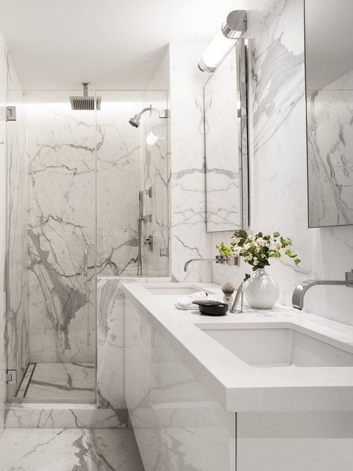 inspiration for a contemporary white tile and marble tile marble floor alcove shower remodel in san - White Marble Tile Bathroom