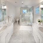 Elongated Octagon And Dot Pattern Bathroom Floor