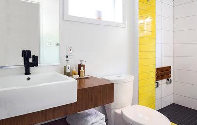 Bold Tile Solves a Color Question in a Basement Bath