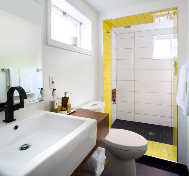 Using Bold Colors In The Bathroom: Bold Tile Solves A Color Question In A Basement Bath