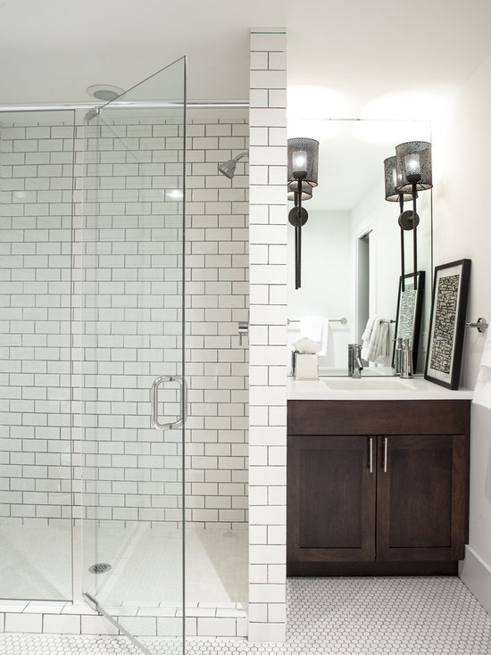 White subway tile shower houzz - White subway tile with black grout bathroom ...