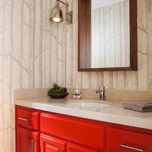 На фото: ванная комната в стиле современная классика с врезной раковиной, фасадами с выступающей филенкой, красными фасадами и разноцветными стенами с