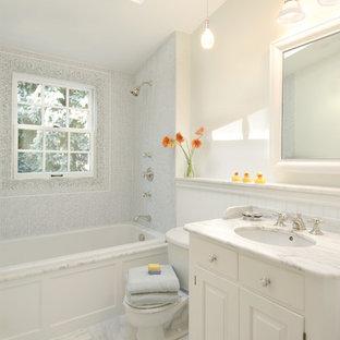 Trendy kids' mosaic tile marble floor bathroom photo in Boston