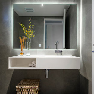 Inspiration For A Mid Sized Contemporary Gray Tile Bathroom Remodel In Perth With An Integrated