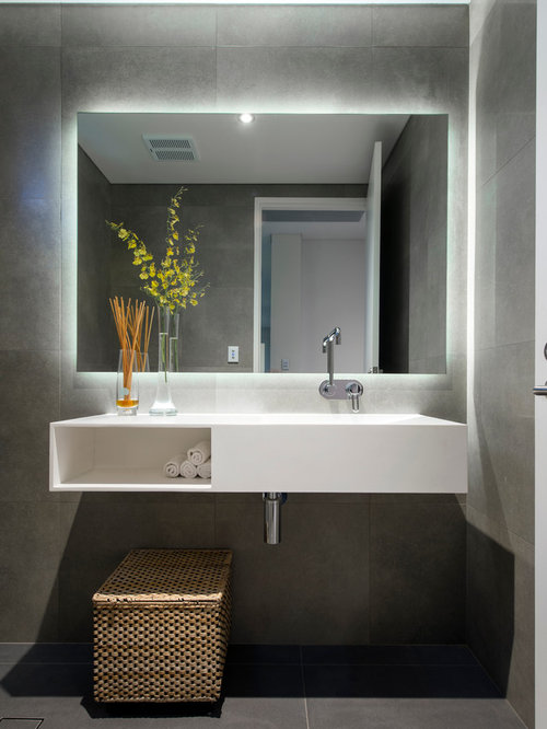 ... bathroom remodel in Perth with an integrated sink, open cabinets