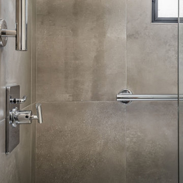 Chrome Shower Fixtures and Grab Bars in Small Modern Bathroom