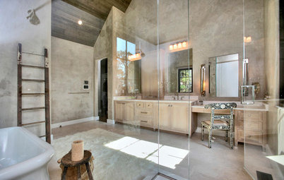 High-End and Rustic Finishes Make for a Relaxing Bath