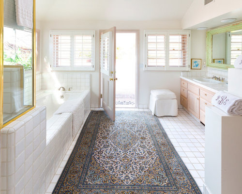 White tile countertop houzz for Bathroom t g cladding