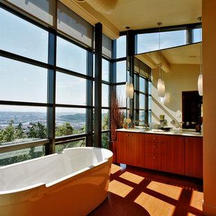 Trendy freestanding bathtub photo in Seattle