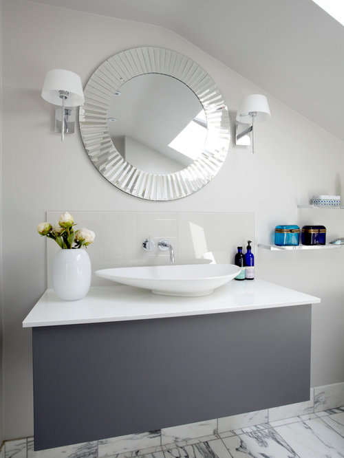 Contemporary Bathroom Idea In London With A Vessel Sink And Gray Cabinets