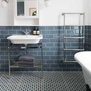 Photo of a classic bathroom in London with multi-coloured floors.