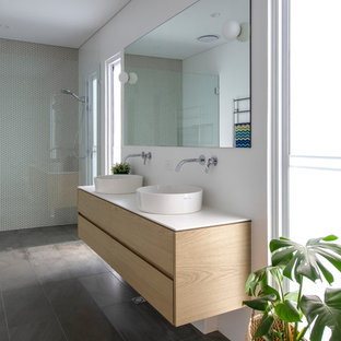 Contemporary master bathroom in Perth with light wood cabinets, a curbless shower, white walls, slate floors, a vessel sink, grey floor, white benchtops, flat-panel cabinets, beige tile and mosaic tile.