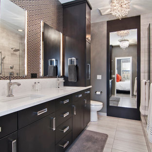 Inspiration For A Contemporary Master Gray Tile Bathroom Remodel In Minneapolis With An Undermount Sink