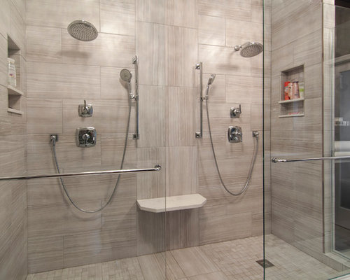 Captivating Inspiration For A Large Modern Master Ceramic Tile Ceramic Floor Double  Shower Remodel In Minneapolis With