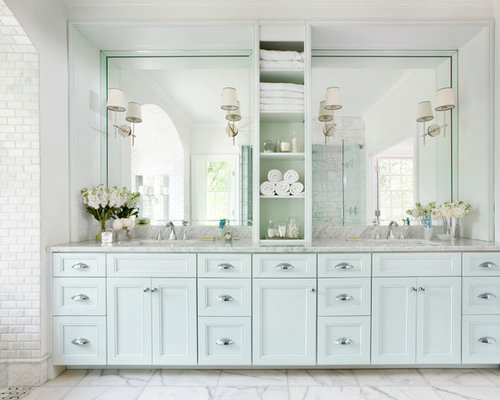 Bathroom   Large Traditional Master White Tile And Subway Tile Marble Floor  Bathroom Idea In Atlanta