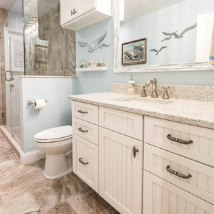 75 Most Popular Beige Bathroom with Recycled Glass Worktops Design