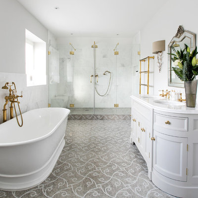 Large ornate master white tile and stone tile mosaic tile floor bathroom photo in Surrey with gray cabinets, gray walls, marble countertops, recessed-panel cabinets, an undermount sink and a hinged shower door