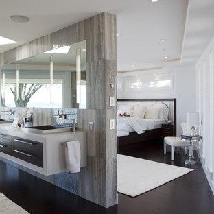 Bathroom - contemporary brown tile bathroom idea in New York with dark wood cabinets