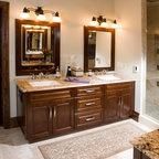 Cherry Double Sink Master Bathroom Vanity Mediterranean