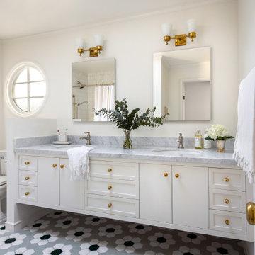 Classic Hex Tile Bathroom Floor in Daisy Pattern