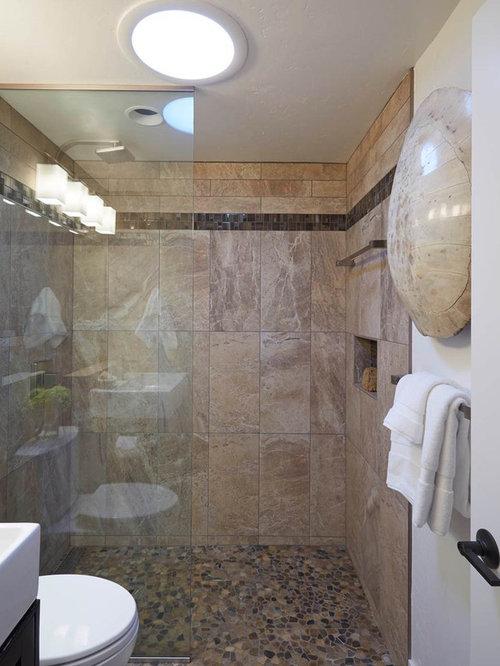 mid century badezimmer mit travertin boden ideen. Black Bedroom Furniture Sets. Home Design Ideas