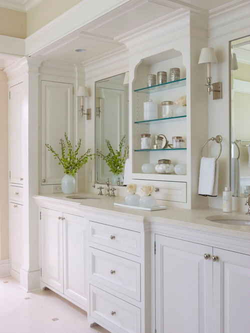 inspiration for a timeless bathroom remodel in new york with raised panel cabinets and white