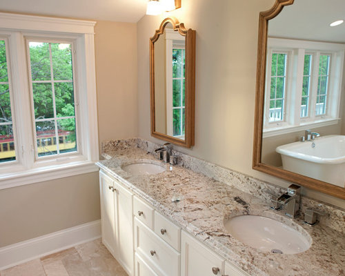 Counter Material Granite Bathroom Design Ideas, Pictures, Remodel & Decor with White Cabinets