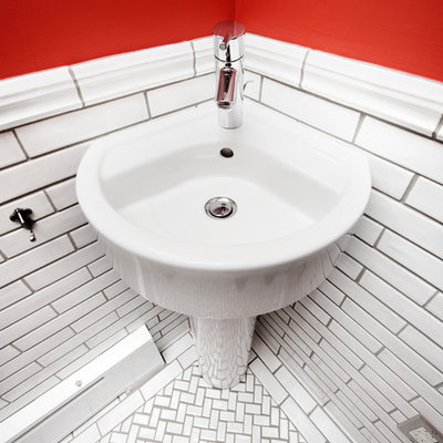 Inspiration for a small craftsman white tile and subway tile ceramic tile bathroom remodel in Minneapolis with a pedestal sink