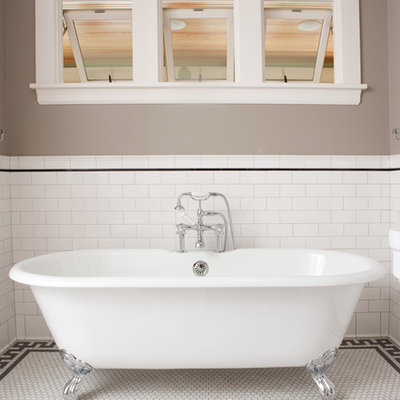 Inspiration for a large timeless master subway tile and white tile mosaic tile floor and white floor bathroom remodel in Minneapolis with a two-piece toilet, gray walls and a pedestal sink