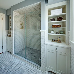 Example of a classic subway tile bathroom design in Newark