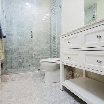 Classical Carrara marble bathroom in Oak park
