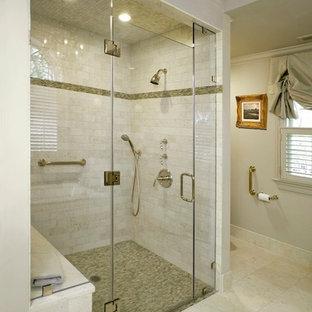 Walk-in shower - traditional subway tile walk-in shower idea in Philadelphia