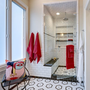 Inspiration for a transitional master white tile and subway tile mosaic tile floor and multicolored floor alcove shower remodel in Other with beige walls and a hinged shower door