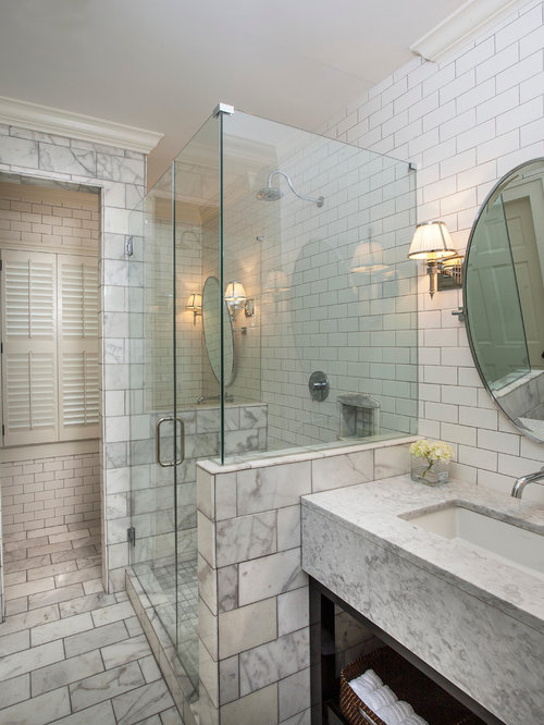 Bathroom Wall Designs bathroom Elegant Corner Shower Photo In New Orleans With An Undermount Sink Open Cabinets White
