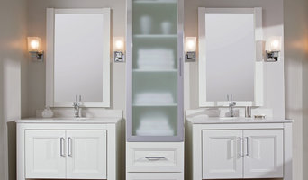Classy Chrome and White Bath Furniture from Dura Supreme Cabinetry