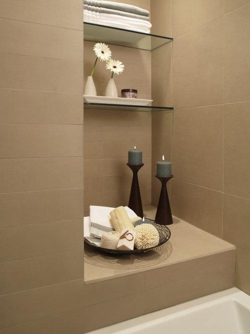 contemporary drop in bathtub idea in detroit with beige tile