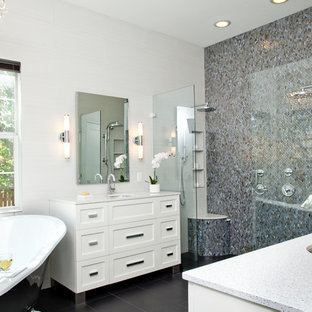 Inspiration for a small classic ensuite bathroom in Austin with a submerged sink, shaker cabinets, white cabinets, engineered stone worktops, a built-in shower, white tiles, grey tiles, glass tiles, porcelain flooring and a claw-foot bath.