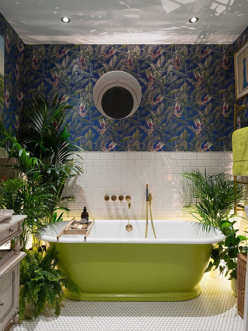 Photo Of A Bohemian Ensuite Bathroom In London With A Freestanding Bath,  Multi Coloured