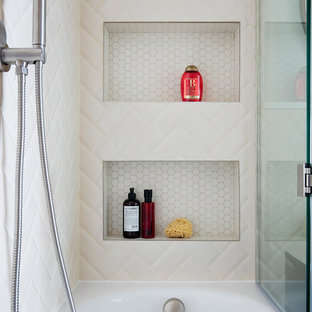Medium sized midcentury shower room in London with glass-front cabinets, brown cabinets, a built-in bath, a walk-in shower, a wall mounted toilet, beige tiles, beige walls, a wall-mounted sink and an open shower.