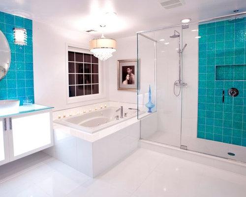 badezimmer mit aufsatzwaschbecken und linoleum ideen design bilder houzz. Black Bedroom Furniture Sets. Home Design Ideas